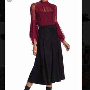 Alice + Olivia Lee Suede Box Pleated Midi Skirt